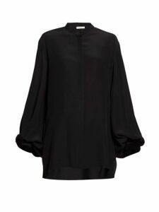 The Row - Vara Balloon Sleeve Crepe Blouse - Womens - Black