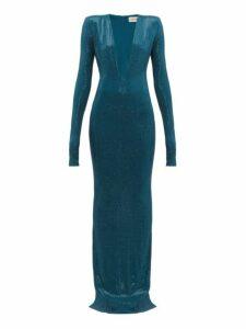 Alexandre Vauthier - Crystal Embellished Plunge Neck Gown - Womens - Blue