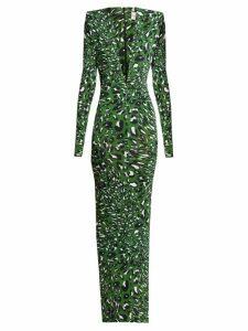 Alexandre Vauthier - Plunge Neck Leopard Print Maxi Dress - Womens - Green Print