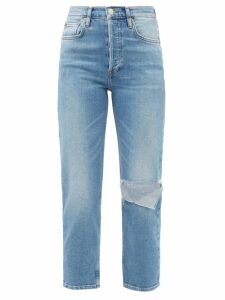 Alexandre Vauthier - High Neck Ribbed Chenille Sweater - Womens - Blue