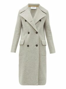 Harris Wharf London - Wide Lapel Double Breasted Boiled Virgin Wool Coat - Womens - Light Grey