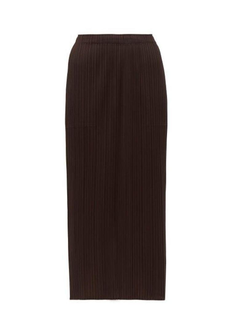 Pleats Please Issey Miyake - Pleated Midi Skirt - Womens - Dark Brown