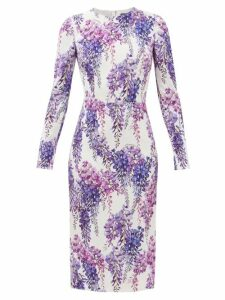 Rebecca Taylor - Ikat Leaf Silk And Cotton-blend Midi Dress - Womens - Light Green