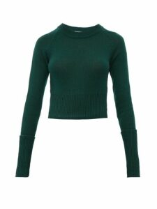 Prada - Cropped Cashmere Sweater - Womens - Dark Green