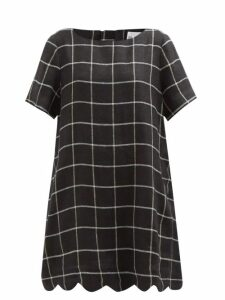 Saloni - Heather Berry Print Bow Front Silk Dress - Womens - Blue Multi