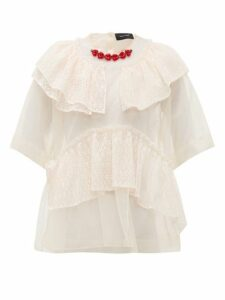 Simone Rocha - Beaded Neckline Tulle And Lace Blouse - Womens - Beige