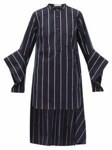 Palmer//harding - Echo Open Cuff Striped Cotton Shirt - Womens - Blue