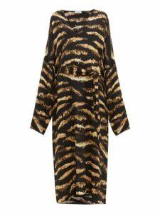 Raey - Kimono Sleeve Bleached Tiger Print Silk Dress - Womens - Black Print