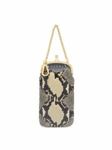 Marni - Python Effect Black Leather Clutch Bag - Womens - White