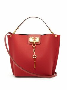 Valentino - V Logo Escape Grained Leather Tote Bag - Womens - Red