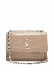 Saint Laurent - Sunset Medium Croc Effect Leather Cross Body Bag - Womens - Beige