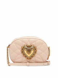 Dolce & Gabbana - Devotion Matelassé Leather Cross Body Bag - Womens - Light Pink