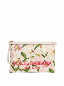 Dolce & Gabbana - Lily Print Canvas Pouch - Womens - Pink Multi