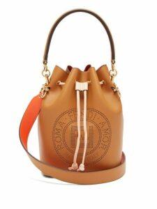 Fendi - Mon Tresor Perforated Logo Leather Bucket Bag - Womens - Tan Multi