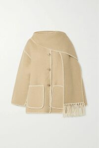 Suryo - Bucket Of Shimmer Faux Pearl-embellished Metallic Crocheted Tote - Beige