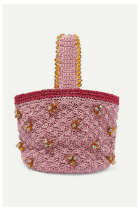 Suryo - Peonies Sack Beaded Crocheted Tote - Pink