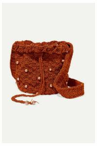 Suryo - Bucket Of Poppies Faux Pearl-embellished Crocheted Shoulder Bag - Brown