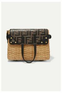 Fendi - Flip Mini Embossed Leather And Glossed-rattan Tote - Black