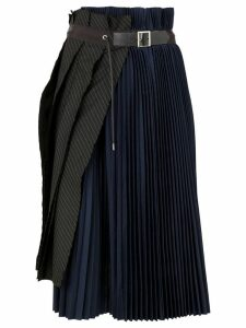 Sacai asymmetric pleated skirt - Blue