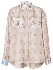 Burberry Contrast Unicorn Print Silk Twill Shirt - Neutrals