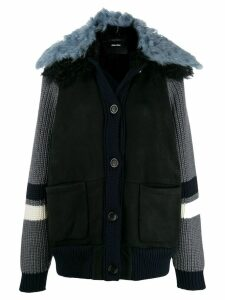 Miu Miu knit panel coat - Blue