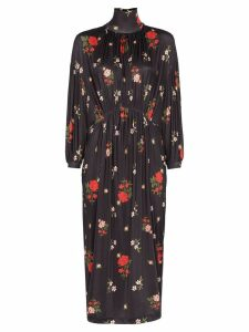 Simone Rocha floral embroidered midi dress - MULTICOLOURED