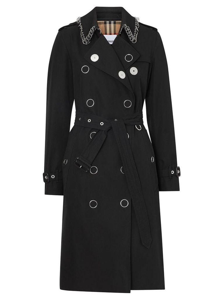 Burberry Ring-pierced Cotton Gabardine Trench Coat - Black