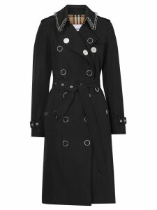 Burberry Ring-pierced Cotton Gabardine Trench Coat - Black