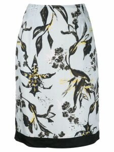 Dorothee Schumacher leaf print straight skirt - Blue