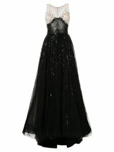 Saiid Kobeisy bead embroidered tulle dress - Black