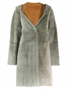 Drome hooded fur trim coat - Brown