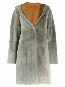 Drome hooded fur trim coat - Brown