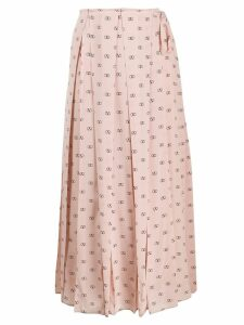 Valentino V logo pleated skirt - Pink