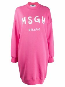 MSGM logo print sweater dress - Pink