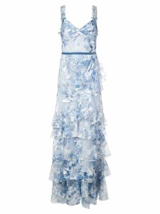 Marchesa Notte floral embroidered dress - Blue