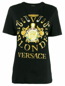 Versace safety pin print T-shirt - Black