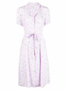 HVN flamingo print shirt dress - Purple