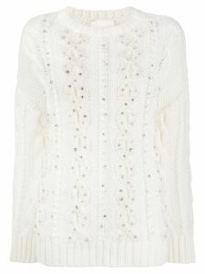 Semicouture embellished cable knit jumper - White
