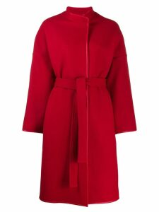 Pinko leather trim coat - Red