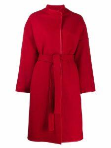Pinko leather trim coat - Red