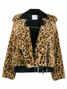 Sacai leopard faux-fur jacket - Yellow