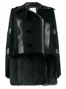 Sacai faux fur-trimmed coat - Black