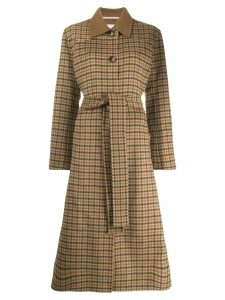 Nanushka checked single-breasted coat - Brown