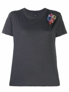 Pinko bejewelled flower appliqué T-shirt - Black