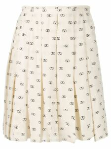 Valentino pleated logo pattern skirt - Neutrals