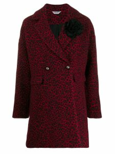 Liu Jo leopard double-breasted coat - Red