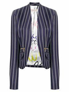 Emilio Pucci Pinstriped Open Front Blazer - Blue