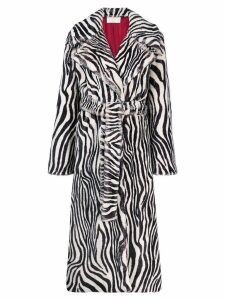 Sara Battaglia zebra trench coat - Black