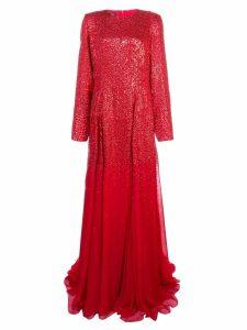 Oscar de la Renta long-sleeved gown with degradé sequins - Red