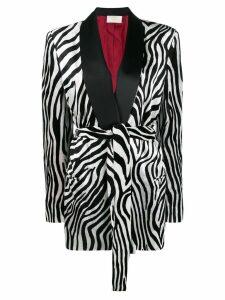 Sara Battaglia zebra printed blazer - Black